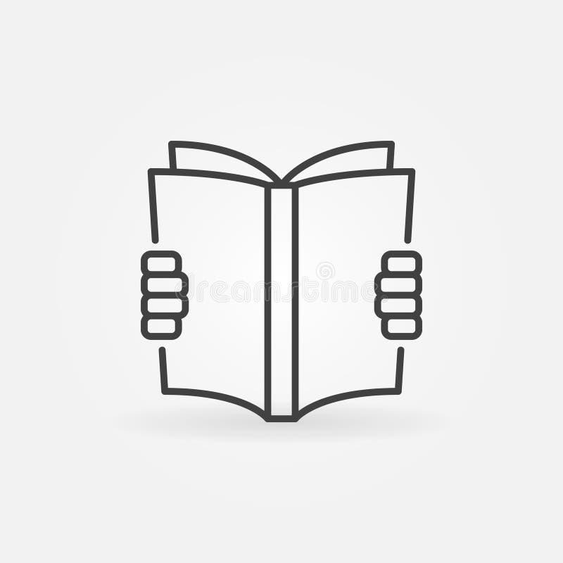 Lectura de un icono del concepto del libro stock de ilustración