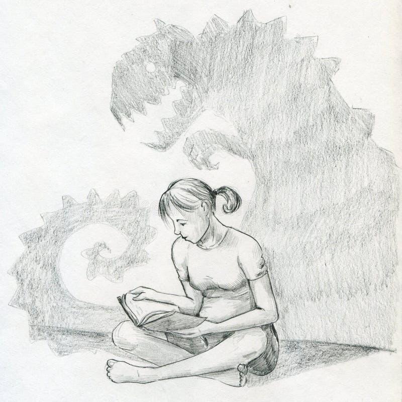 Lectura de un libro asustadizo stock de ilustración