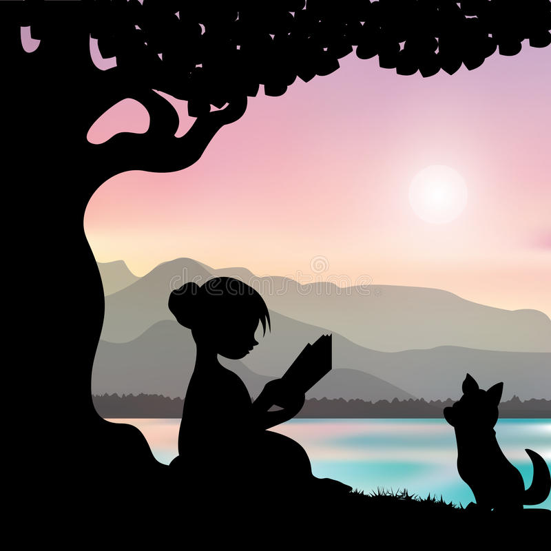 Lectura de un libro debajo de un árbol, ejemplos del vector libre illustration