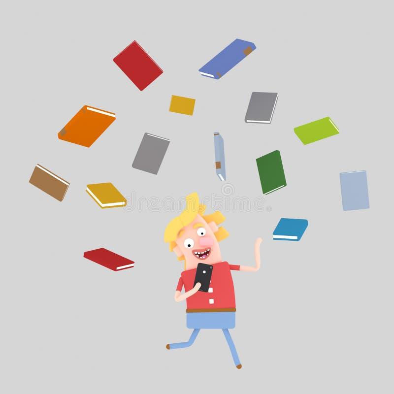 Lectura del hombre por smartphone libre illustration