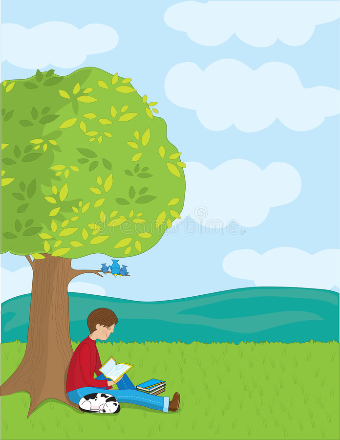 Lectura del muchacho ilustración del vector