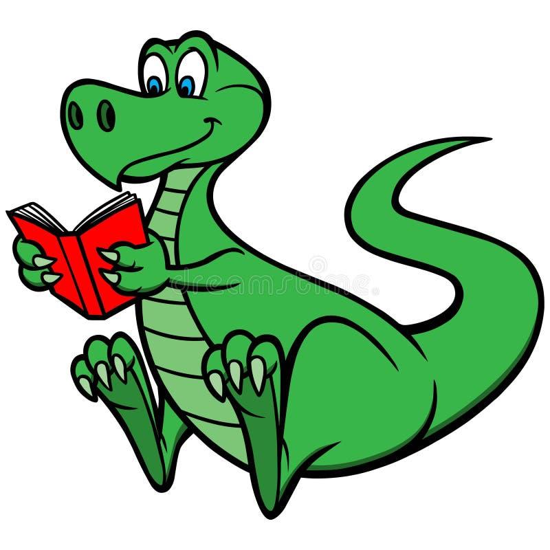 Lectura Dino ilustración del vector