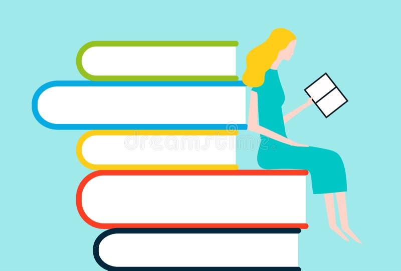 Lectura feliz de la mujer en la torre de libros stock de ilustración