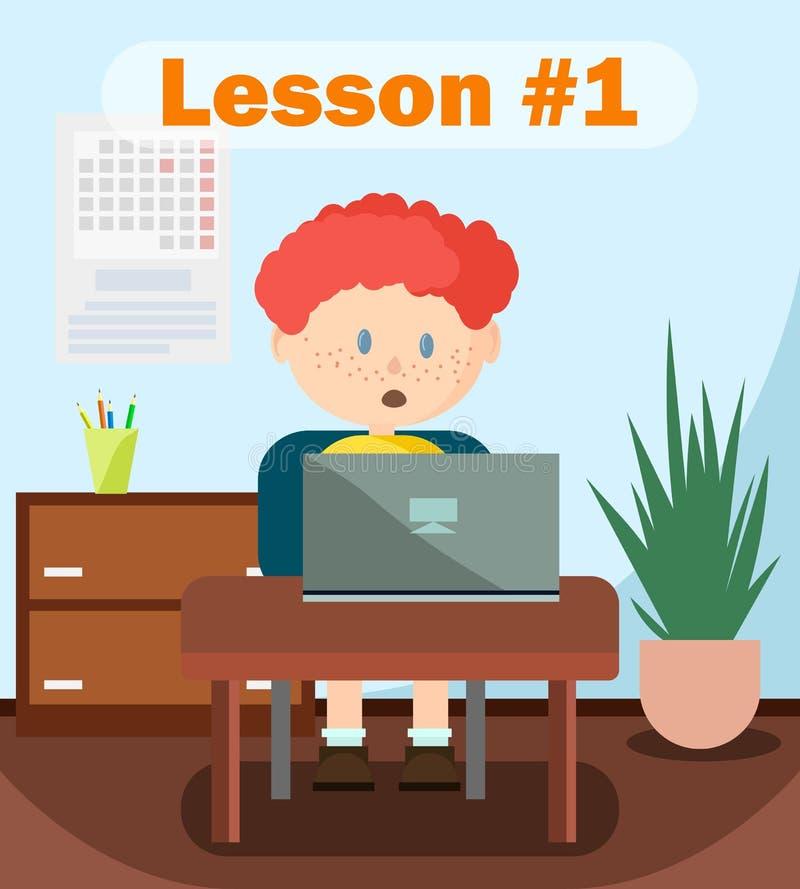 Lecture étonnée de garçon, travaillant en ligne sur l'ordinateur portable illustration stock