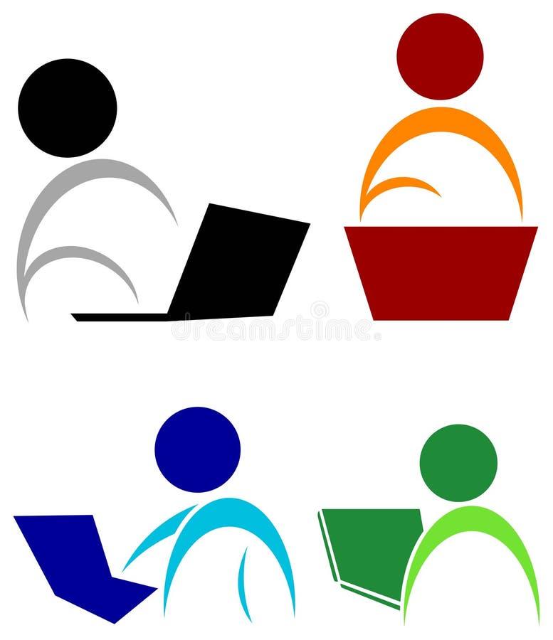 Lecture d'ordinateur portable illustration libre de droits