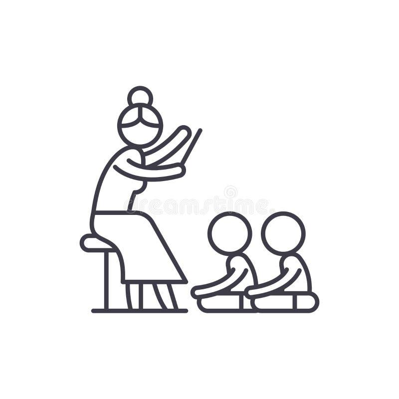 Lecture dans la ligne concept de jardin d'enfants d'icône Lisant dans l'illustration linéaire de vecteur de jardin d'enfants, sym illustration stock