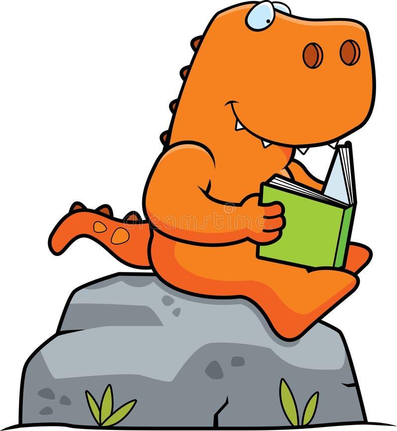 Lecture de dinosaure de bande dessinée illustration stock