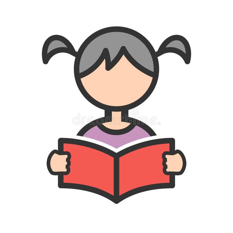 Lecture de fille illustration de vecteur