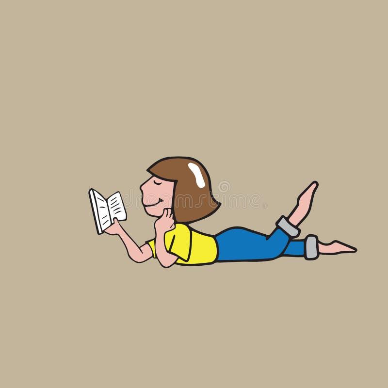 Lecture de fille sur le plancher illustration libre de droits