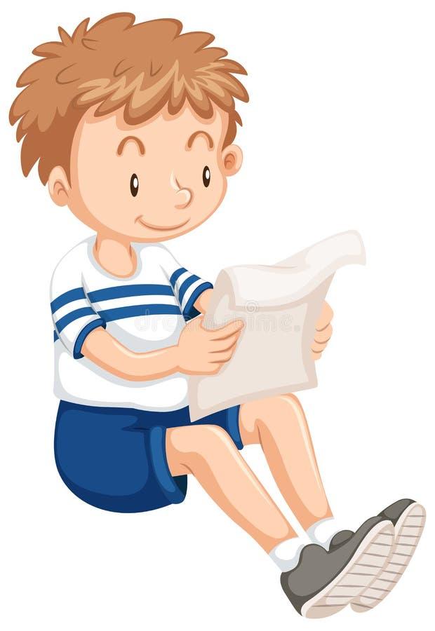Lecture de garçon de papier illustration stock