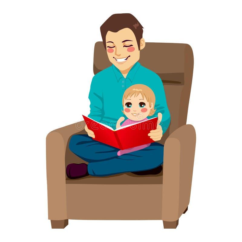 Lecture de papa et de fille illustration libre de droits