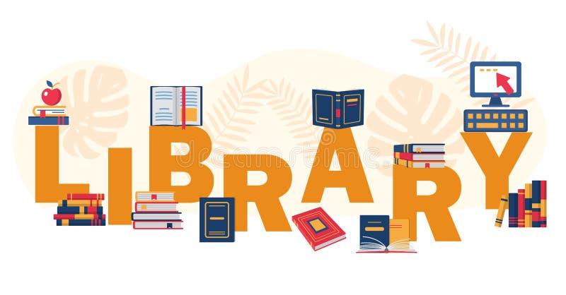 Lecture du festival d'eductational ou du concept de bibliothèque illustration stock