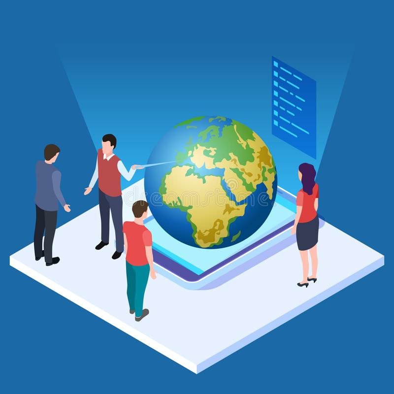 Lecture about earth vector illustration. Save the planet isometric concept vector illustration