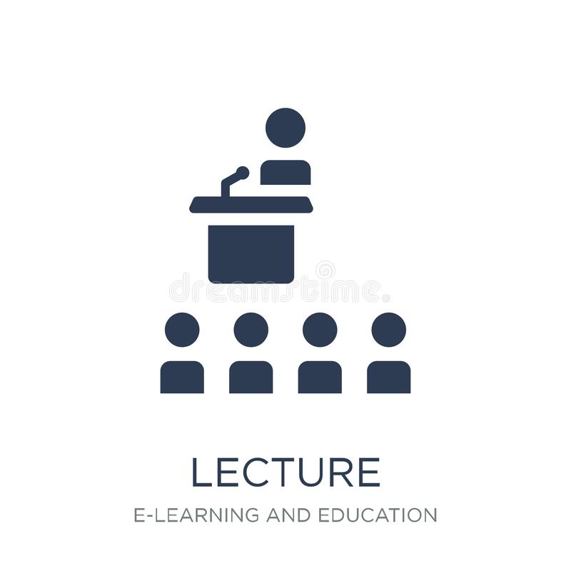 Lecture icon. Trendy flat vector Lecture icon on white background from E-learning and education collection. Vector illustration can be use for web and mobile royalty free illustration
