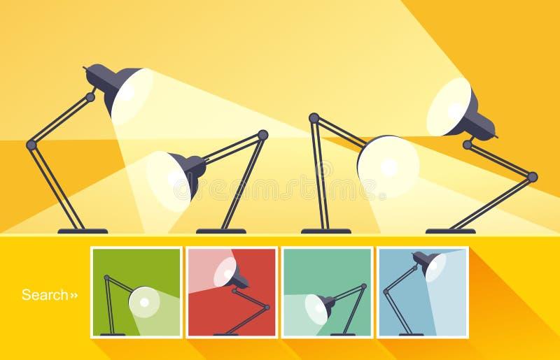 Lecture-lampe de concept, illustration plate de vecteur de conception illustration stock