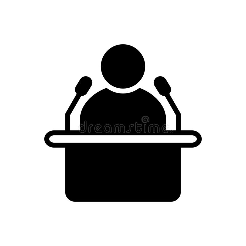 Black solid icon for Lecture, leader and politician stock illustration