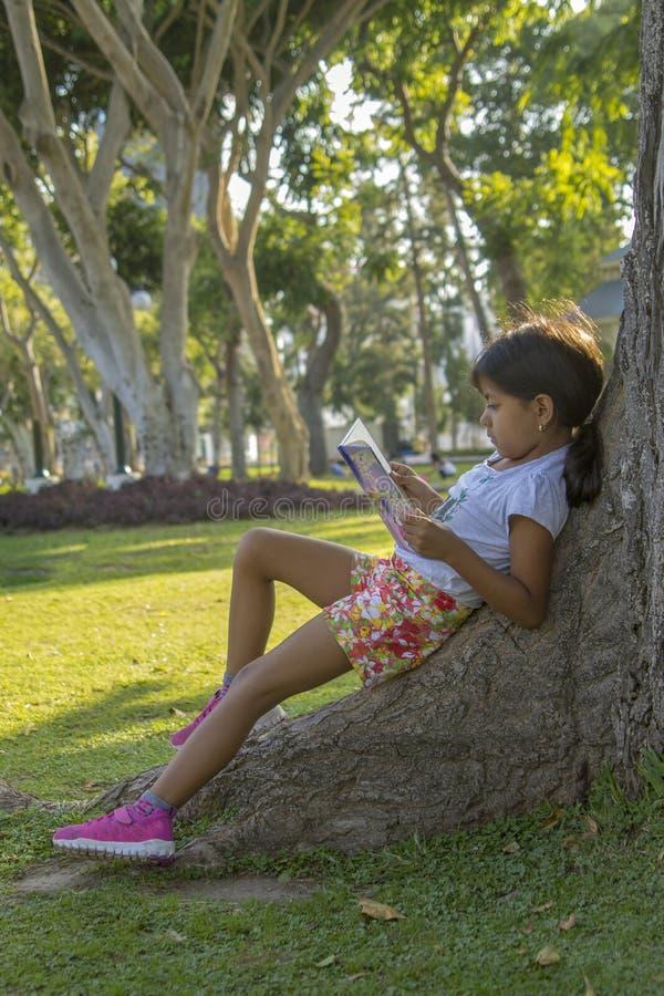 Lecture mignonne de petite fille en parc photos libres de droits