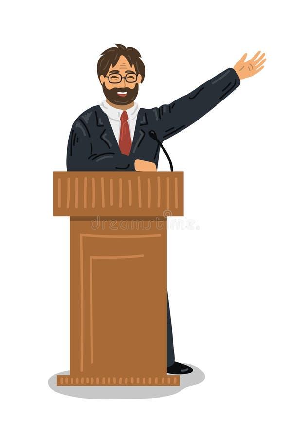 lecture Orador que fala na tribuna do pódio ilustração royalty free