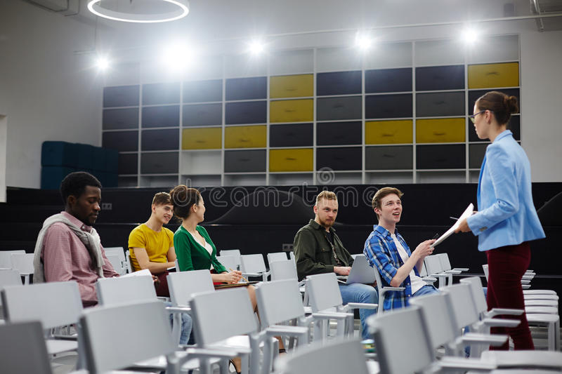 At lecture stock image