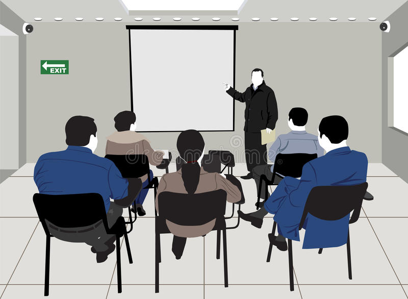 Lecture. Silhouette drawing of a group of students, inside a classroom, attending a lecture vector illustration