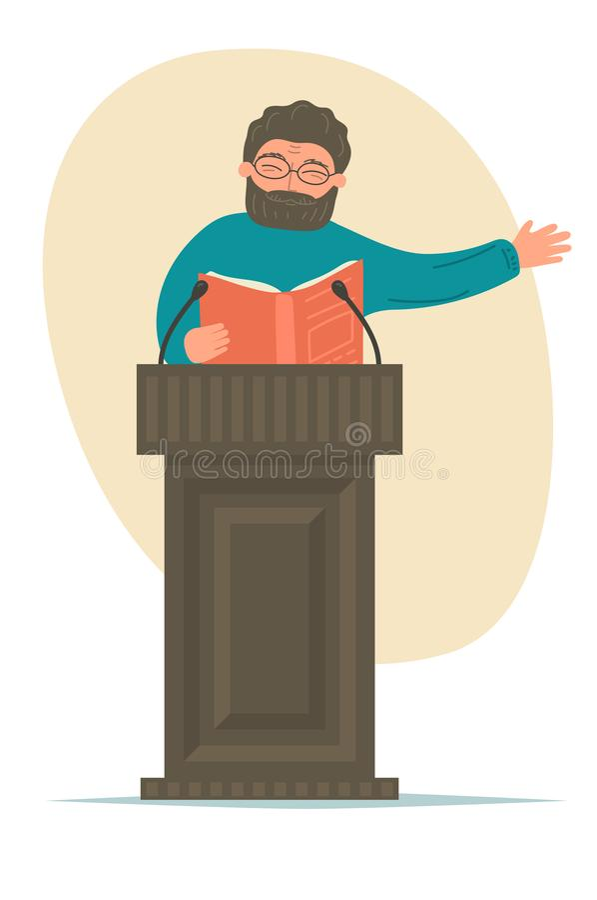 Lecture. Speaker with book talking at podium tribune. vector illustration