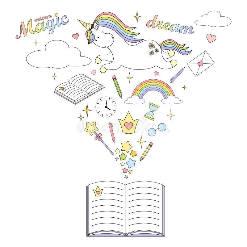 2018 04 lecture 26_unicorn illustration de vecteur