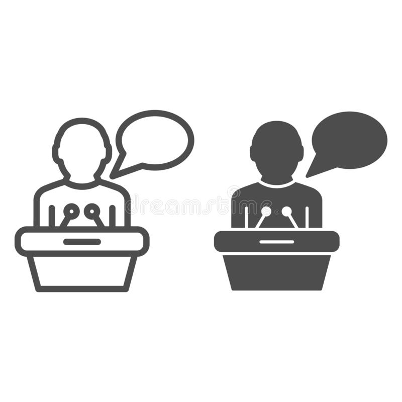 Lecturer on tribune line and glyph icon. Public lecture vector illustration isolated on white. Speech outline style. Design, designed for web and app. Eps 10 royalty free illustration