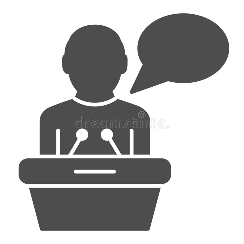 Lecturer on tribune solid icon. Public lecture vector illustration isolated on white. Speech glyph style design. Designed for web and app. Eps 10 vector illustration