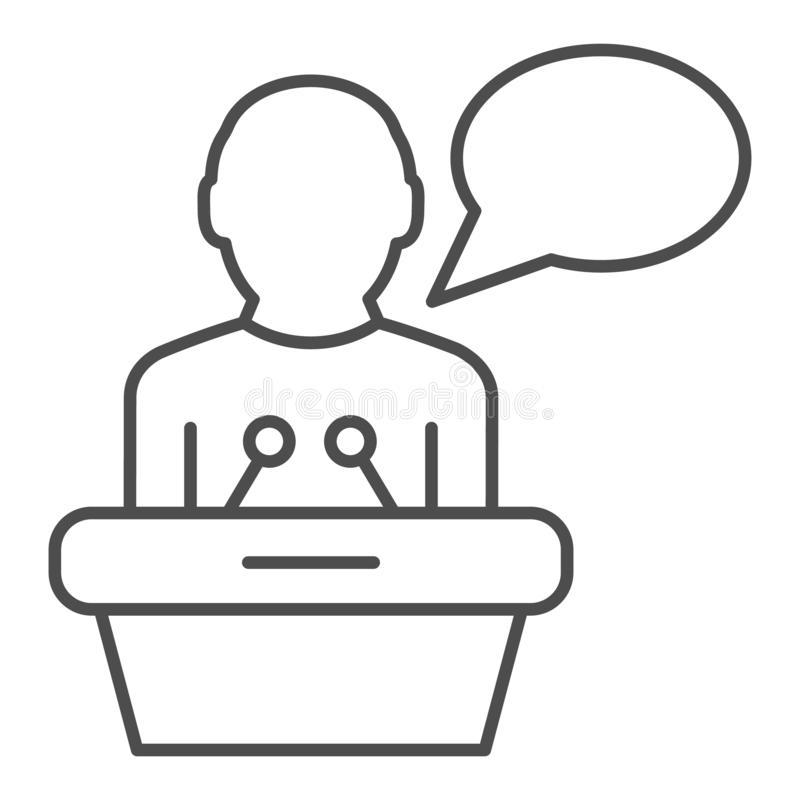Lecturer on tribune thin line icon. Public lecture vector illustration isolated on white. Speech outline style design. Designed for web and app. Eps 10 vector illustration