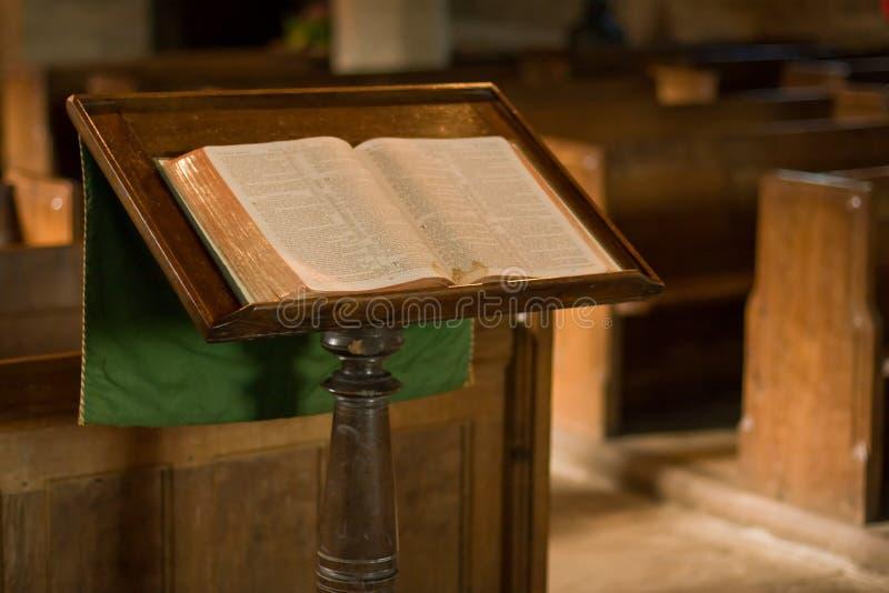 Lecturn in church stock photo