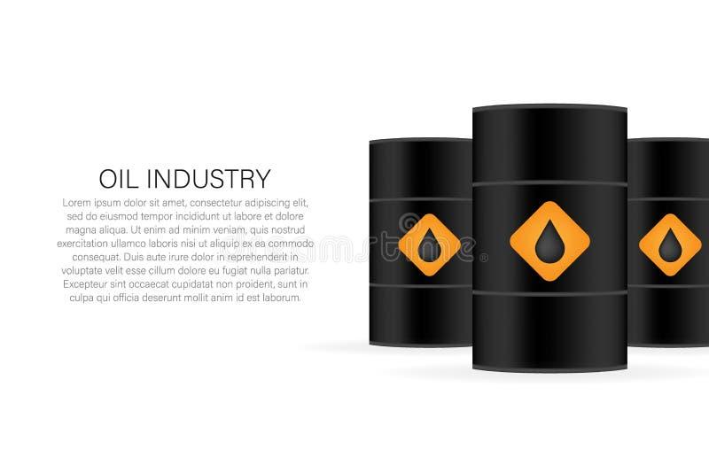 lecz to Siberia sektora ropy na zach?d Pusta realistyczna czarna nafciana baryłka na białym tle budowy ilustraci zapas pod wektor royalty ilustracja