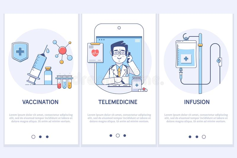 Leczenia pojęcie Telemedicine Online Medyczna konsultacja Strzykawka i grout Medyczna infuzja UX UI GUI ekran royalty ilustracja