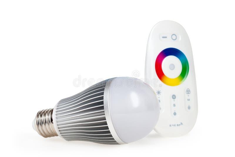 LED与遥控的色的光 免版税库存照片
