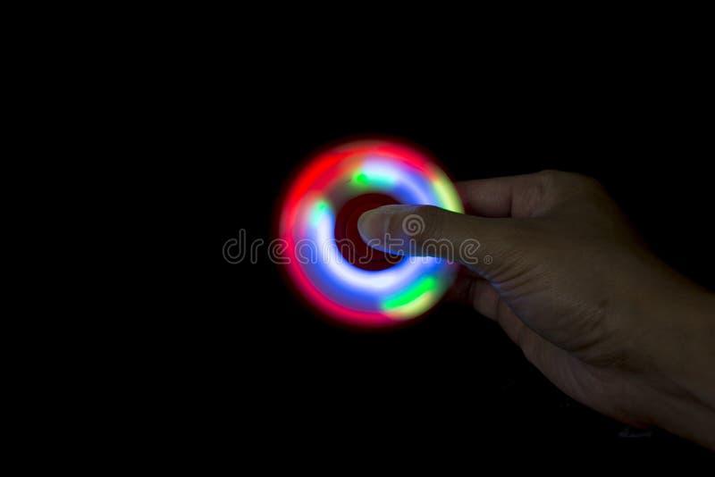 LED光坐立不安HANDSPINNER 免版税库存照片