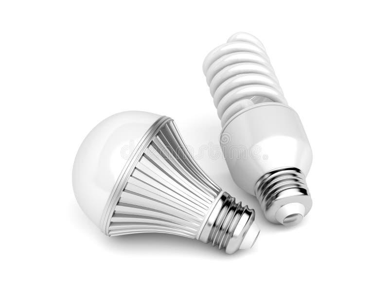 LED和CFL电灯泡 皇族释放例证