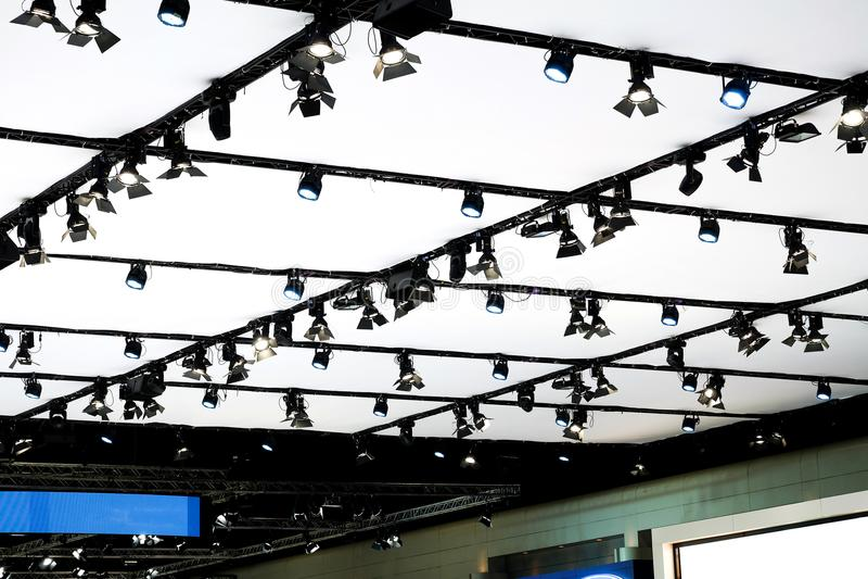 LED打标准数阶段或陈列的照明设备 免版税库存照片