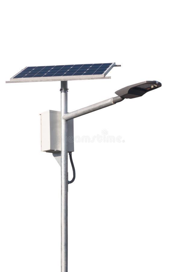 LED有太阳能电池的街灯岗位在白色背景 库存图片