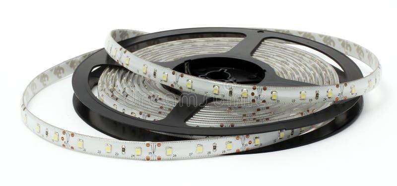 LED灯、小条和聚光灯在白色背景 免版税库存图片