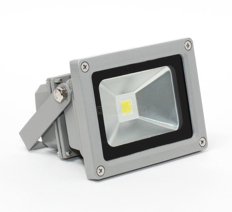 LED灯、小条和聚光灯在白色背景 库存照片