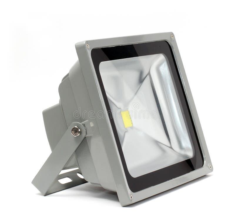 LED灯、小条和聚光灯在白色背景 图库摄影