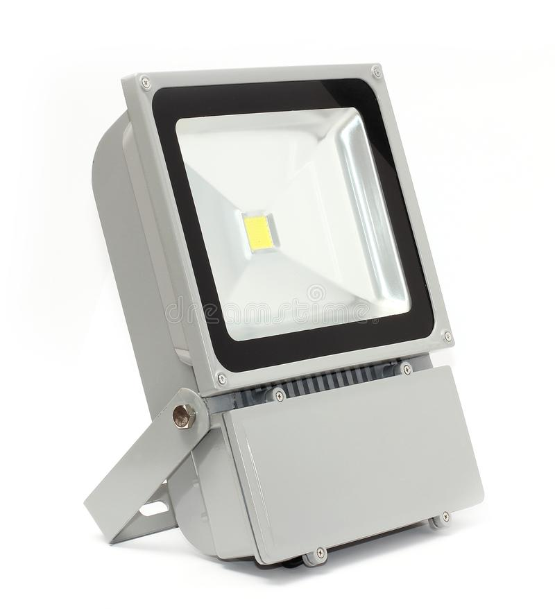 LED灯、小条和聚光灯在白色背景 库存图片