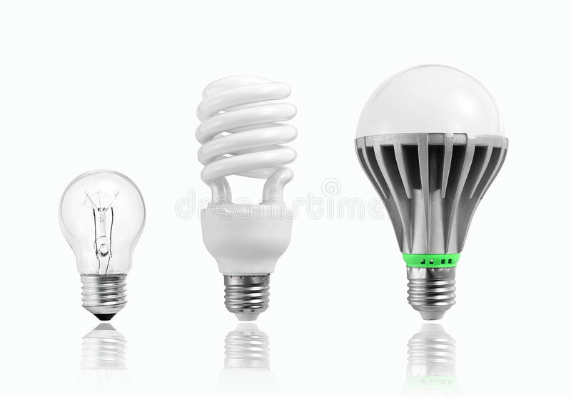 LED电灯泡,钨电灯泡,白炽电灯泡,日光灯,照明设备,节能和环境保护的演变 向量例证