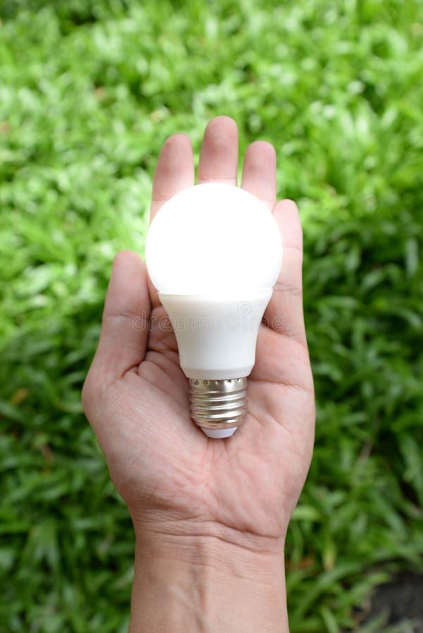LED电灯泡-能量在我们的有照明设备的手上 免版税图库摄影