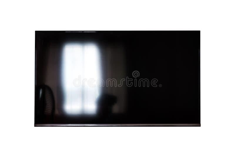 LED电视,有光反射的黑屏幕,隔绝在白色背景 裁减路线 库存照片