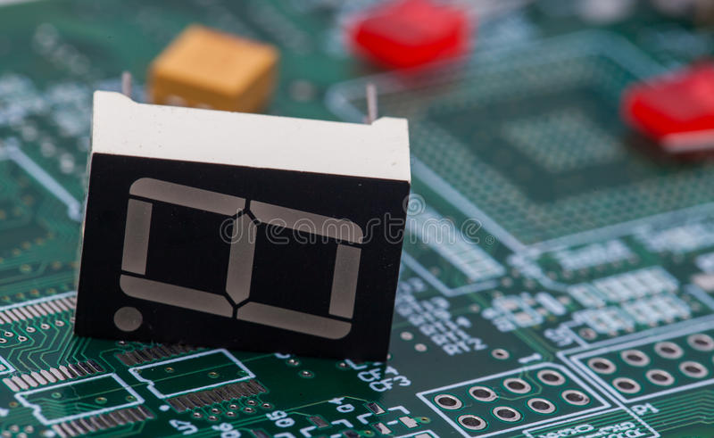 LED 7 segment on green PCB.  royalty free stock photos