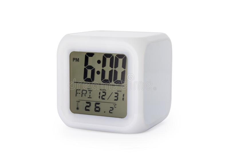 LED alarm clock isolated on white background. Modern style digital display.  Clipping paths object stock illustration