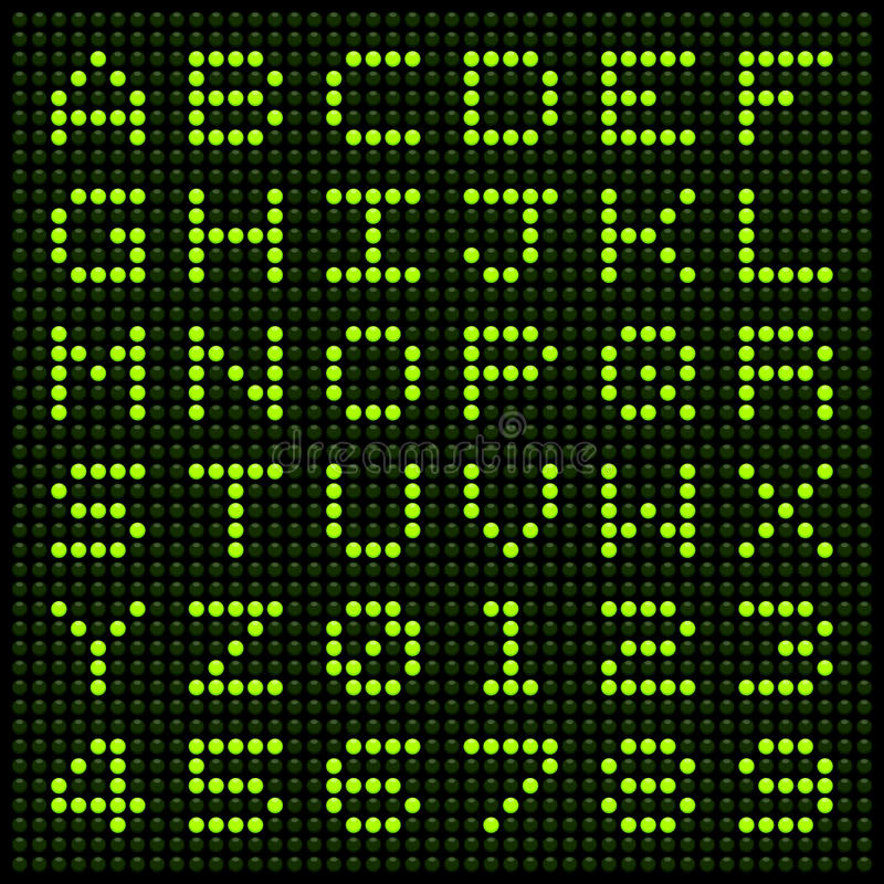 LED Alphabet and Numbers. Alphabet letters and numbers on an LED display matrix stock illustration