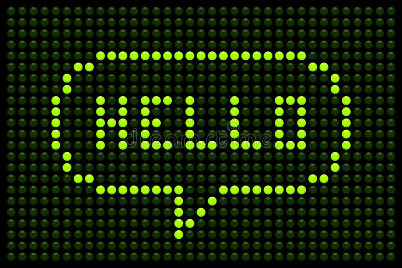 Hello LED Speech Bubble. LED board showing the word Hello in a speech bubble stock illustration