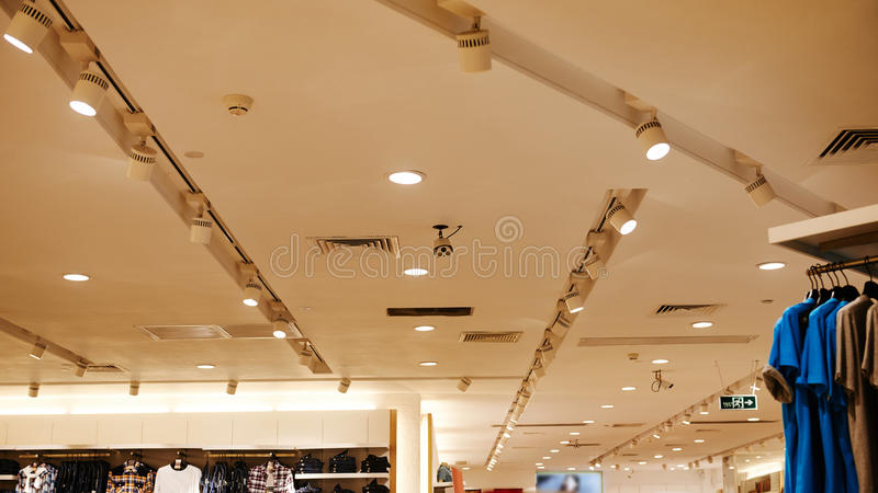 Led ceiling light used in fashion shop stock photos