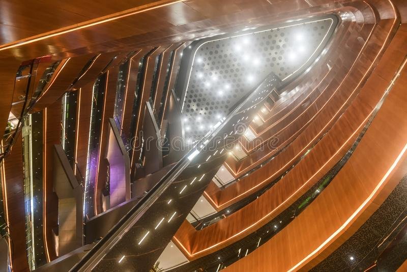 Led light in modern commercial building hall. Led chandelier used in modern construction, subway station, airport, railway station, bus station ,shopping mall stock image